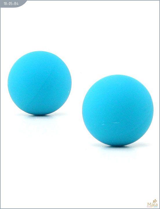 Металлические вагинальные шарики с голубым силиконовым покрытием