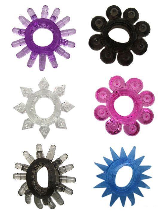 Набор из 6 эрекционных колец различной формы и цвета