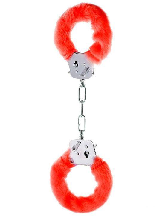 Металлические наручники с красным мехом - фото 139470