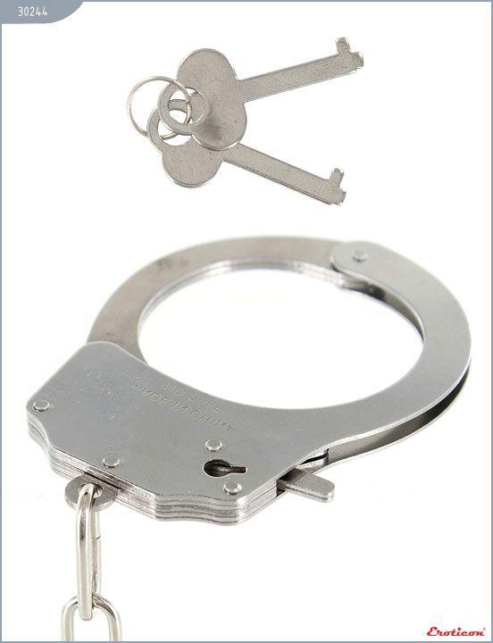 Металлические наручники с розовым мехом - фото 154717