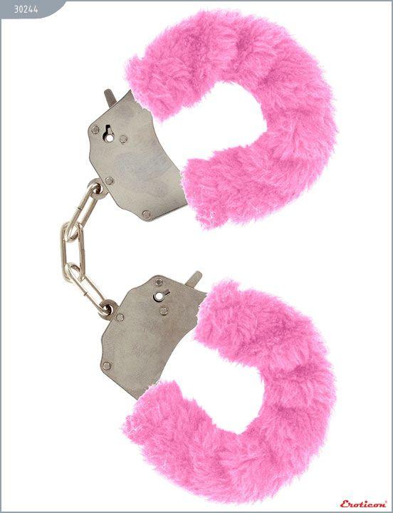 Металлические наручники с розовым мехом - фото 154716