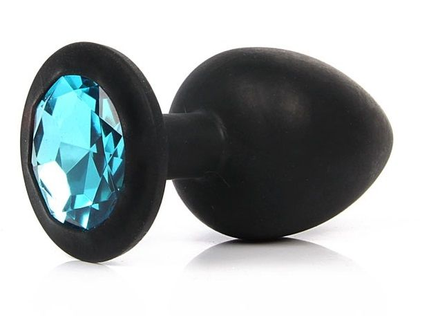 Чёрная силиконовая пробка с голубым кристаллом размера S - 6,8 см. - фото 200745