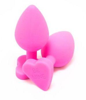 Розовая силиконовая пробка с основанием-сердцем - 8 см.