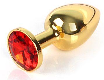 Золотистая анальная пробка с красным кристаллом размера M - 8 см. - фото 250649