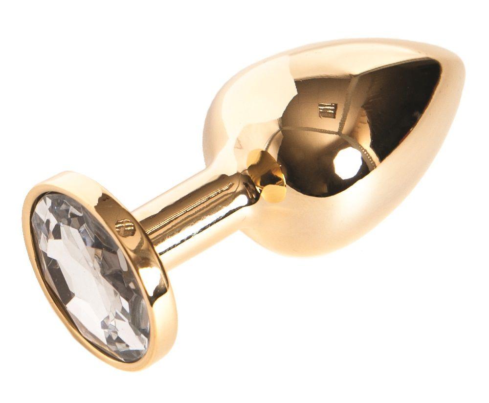 Золотистая анальная пробка с прозрачным кристаллом размера S - 7 см. - фото 236016