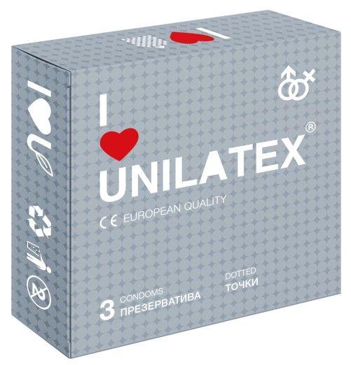 Презервативы с точками Unilatex Dotted - 3 шт.