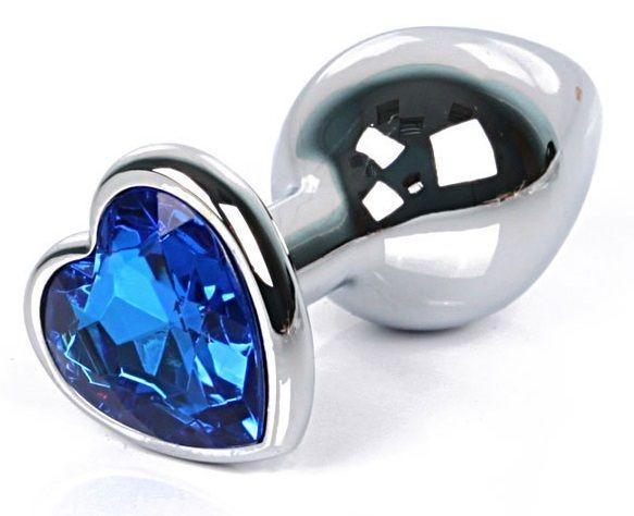 Серебристая анальная пробка с синим кристаллом-сердцем размера L - 9,5 см. - фото 250680