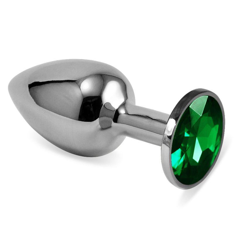 Серебристая анальная пробка с зелёным кристаллом размера M - 8 см - фото 200928