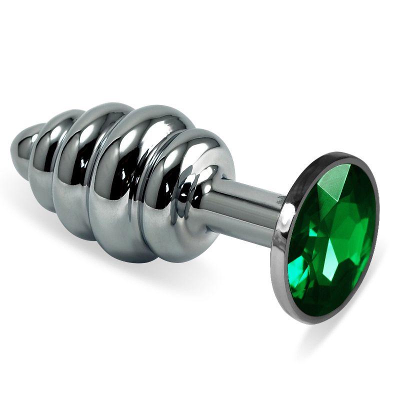 Серебристая ребристая пробка с зелёным кристаллом размера L - 9,5 см. - фото 250696