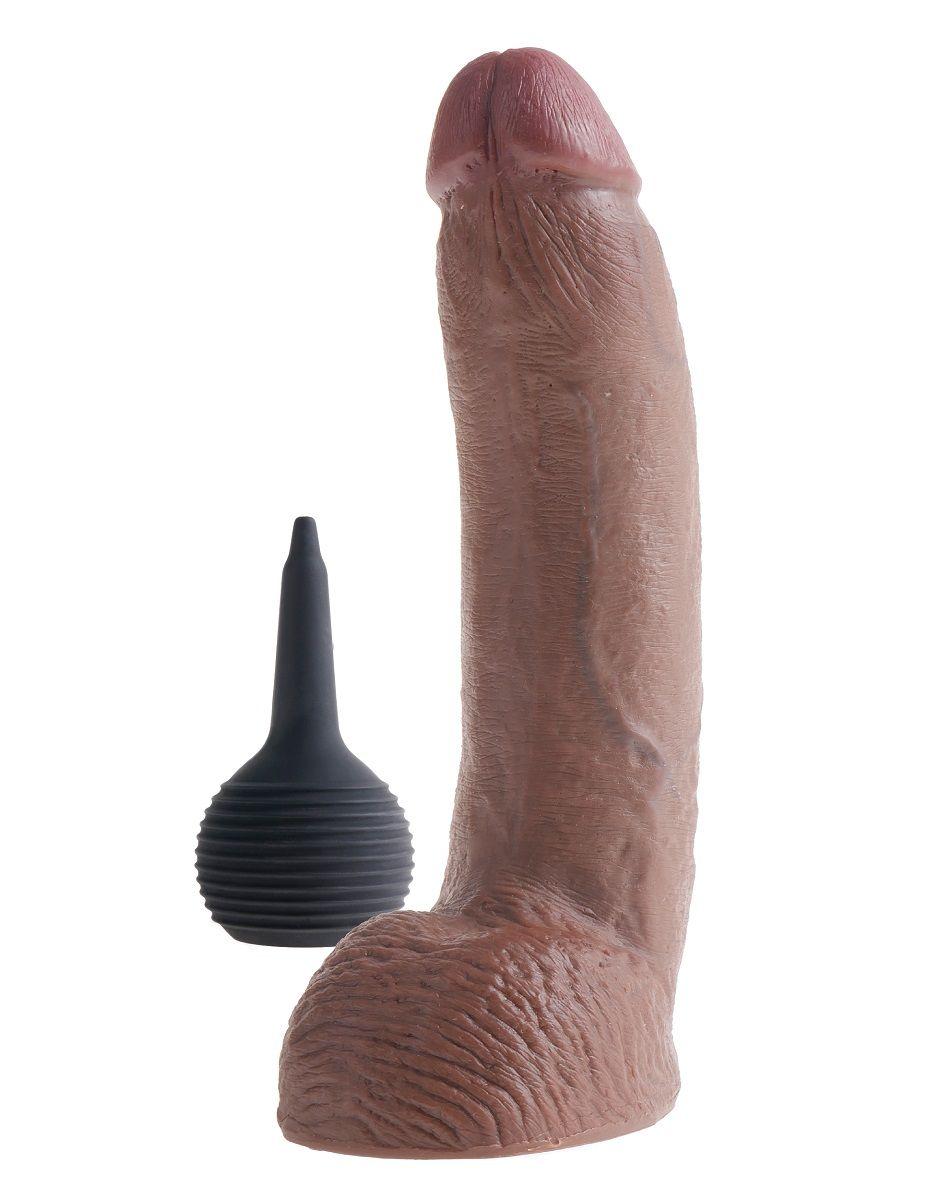 Коричневый фаллоимитатор с эффектом семяизвержения Squirting Cock with Balls - 22,9 см. - фото 250719