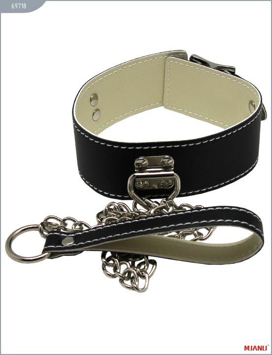 Чёрный кожаный ошейник с фиксацией и поводком-цепью - фото 262814