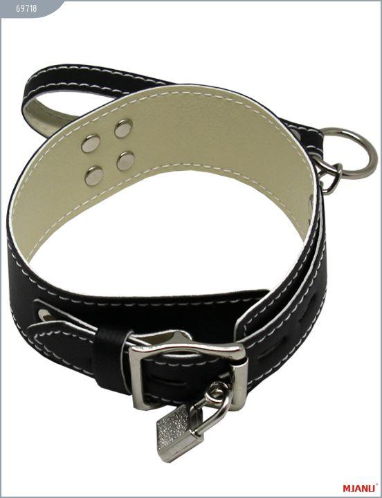 Чёрный кожаный ошейник с фиксацией и поводком-цепью - фото 262815