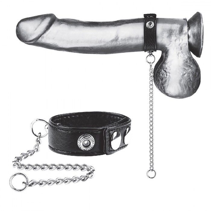 Утяжка на пенис с поводком Snap Cock Ring With 12  Leash