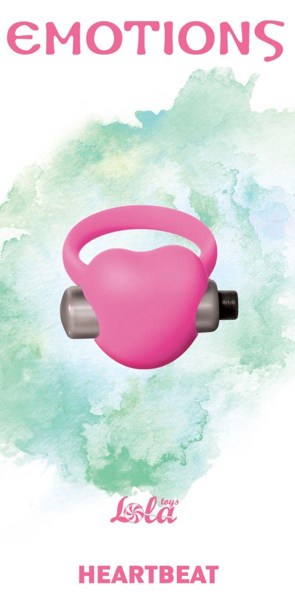 Розовое эрекционное виброкольцо Emotions Heartbeat Light pink  - фото 1167322