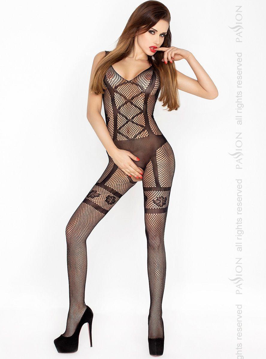 Изысканный костюм-сетка с имитацией комплекта нижнего белья - фото 156492