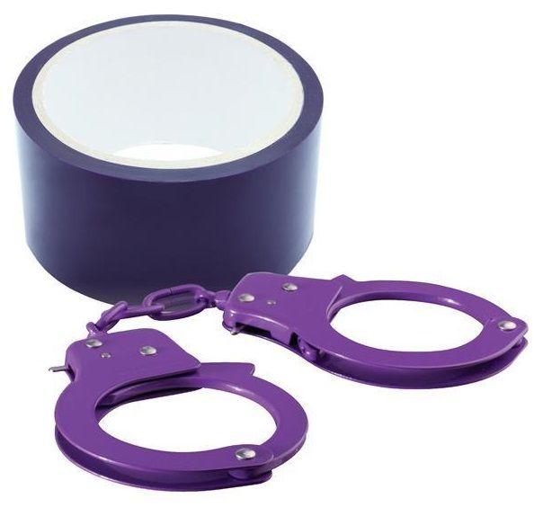 Набор для фиксации BONDX METAL CUFFS AND RIBBON: фиолетовые наручники из листового материала и липкая лента - фото 141276
