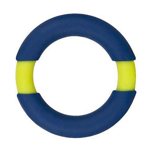 Синее эрекционное кольцо NEON STIMU RING 42MM BLUE/YELLOW - фото 141284