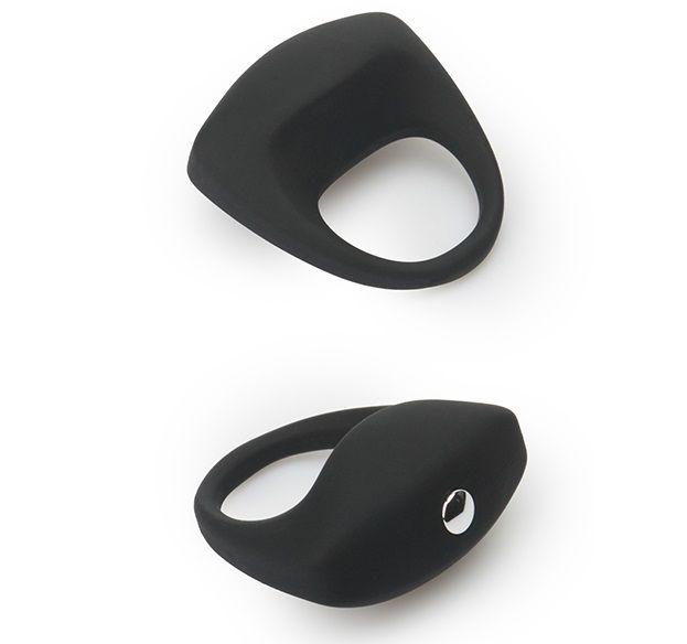 Чёрное эрекционное кольцо LIT-UP SILICONE STIMU RING 8 - фото 141404