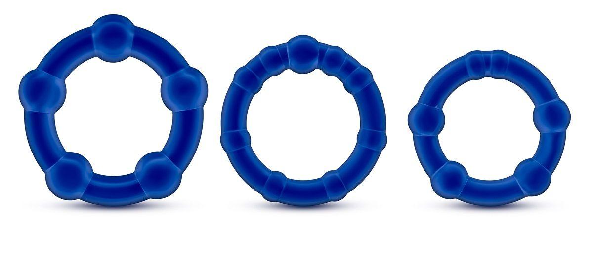 Набор из 3 синих эрекционных колец Stay Hard Beaded Cockrings - фото 1168206