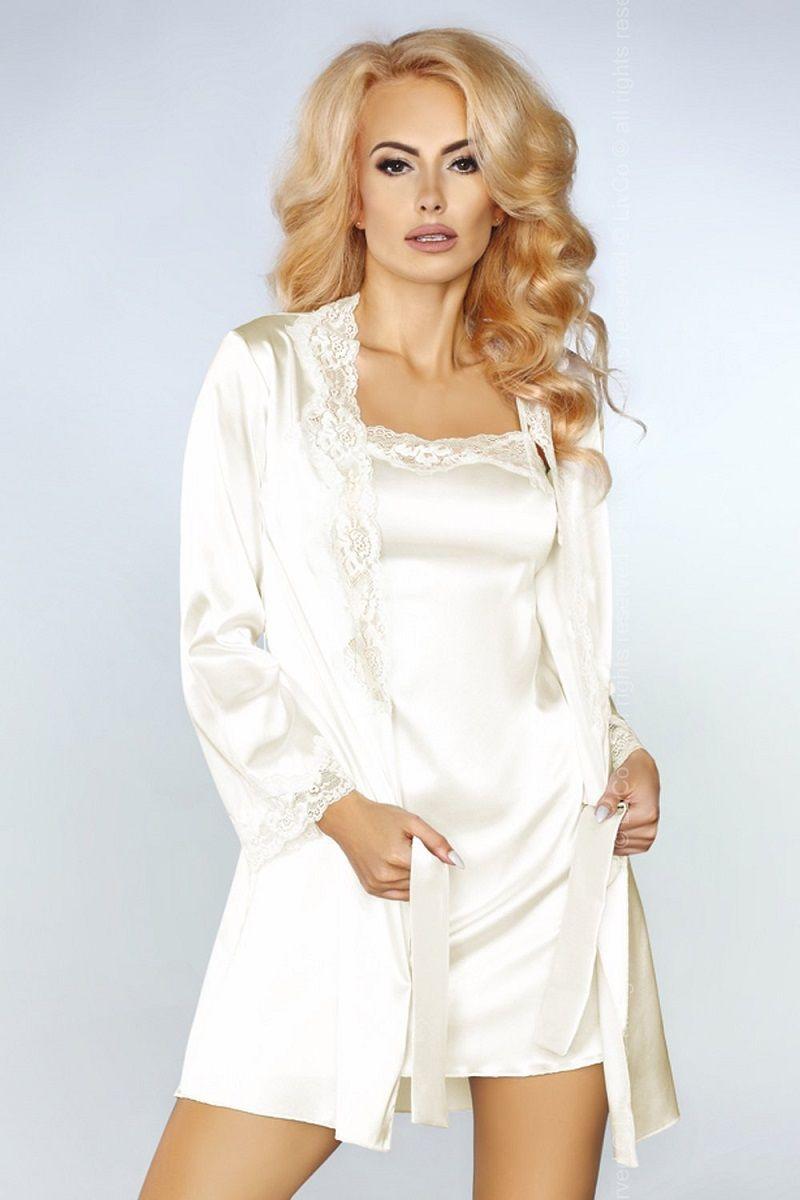 Роскошный ночной комплект Jacqueline: пеньюар, сорочка и трусики-стринги - фото 233155