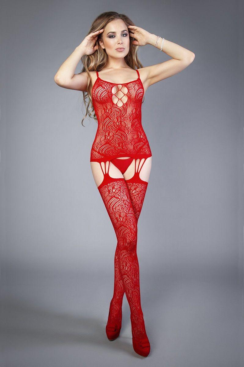 Красный ажурный комбинезон с имитацией шнуровки на груди