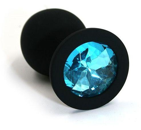 Чёрная силиконовая анальная пробка с голубым кристаллом - 7 см. - фото 158247