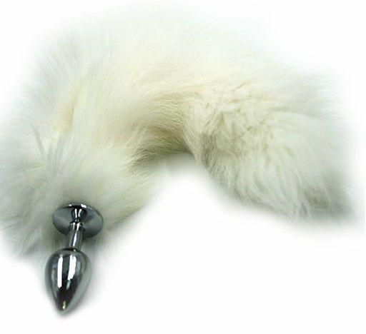 Серебристая алюминиевая анальная пробка с белым хвостом из натурального меха