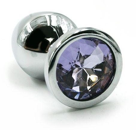 Серебристая алюминиевая анальная пробка с светло-фиолетовым кристаллом - 6 см. - фото 323328