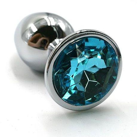 Серебристая алюминиевая анальная пробка с голубым кристаллом - 6 см. - фото 74529