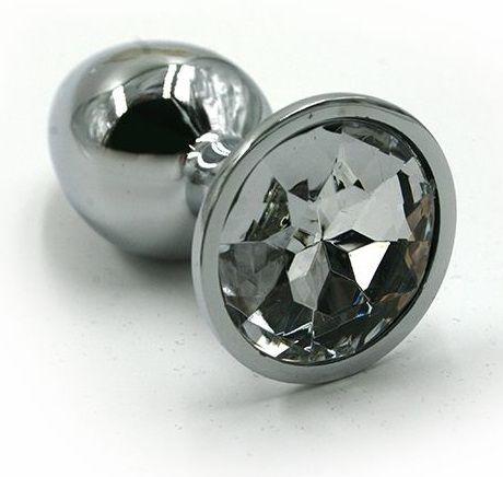 Серебристая алюминиевая анальная пробка с прозрачным кристаллом - 7 см. - фото 251521