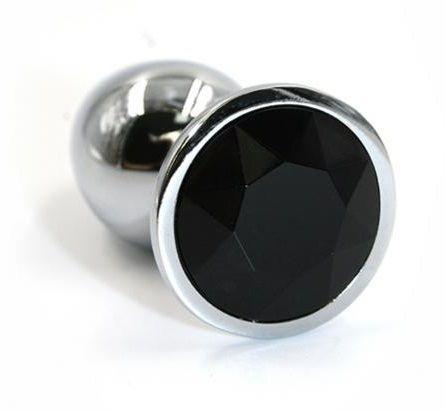 Серебристая алюминиевая анальная пробка с чёрным кристаллом - 8,4 см. - фото 240894