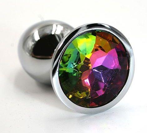 Серебристая алюминиевая анальная пробка с радужным кристаллом - 7 см. - фото 203915