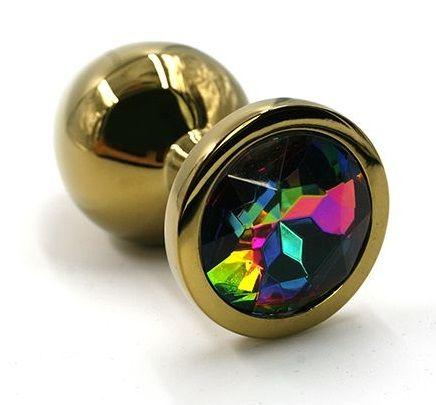 Золотистая алюминиевая анальная пробка с радужным кристаллом - 6 см. - фото 203921