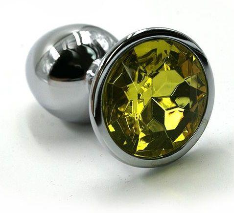 Серебристая алюминиевая анальная пробка с желтым кристаллом - 6 см. - фото 203929