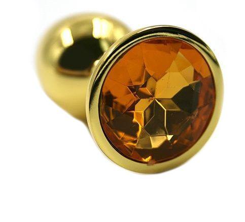 Золотистая алюминиевая анальная пробка с жёлтым кристаллом - 6 см. - фото 323384