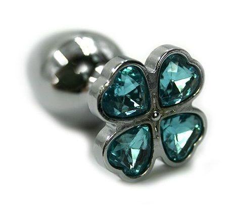 Серебристая анальная пробка с нежно-голубым цветком из кристаллов - 6 см. - фото 203946