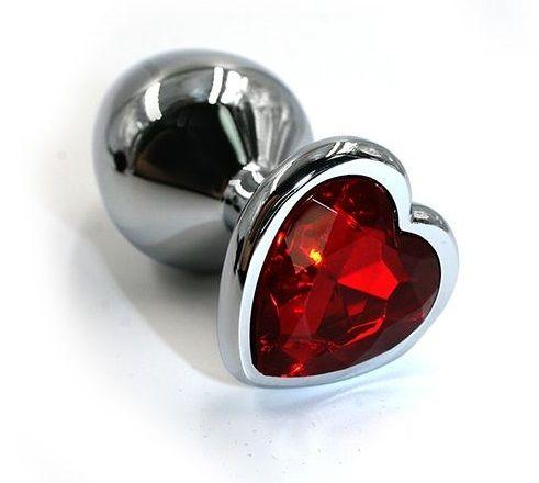 Серебристая анальная пробка с красным кристаллом-сердцем - 7 см. - фото 203954
