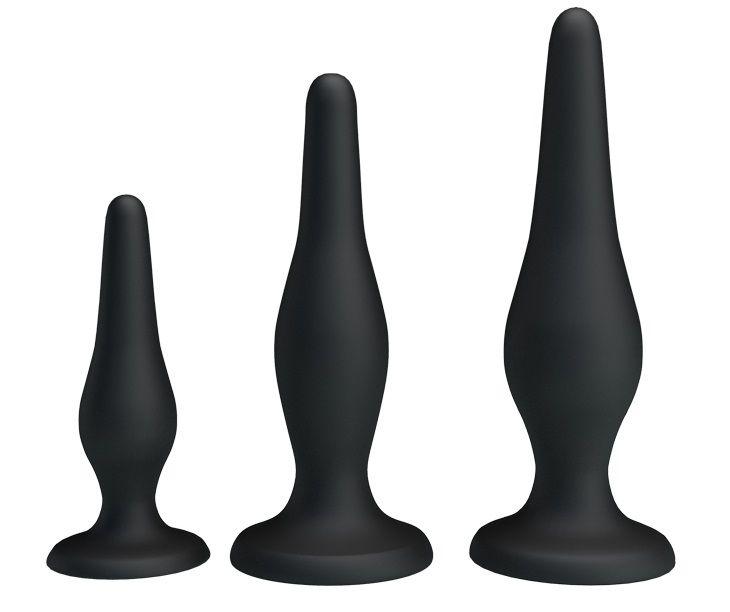 Набор из 3 силиконовых анальных пробок для начинающих Mini Anal Kit  - фото 143225