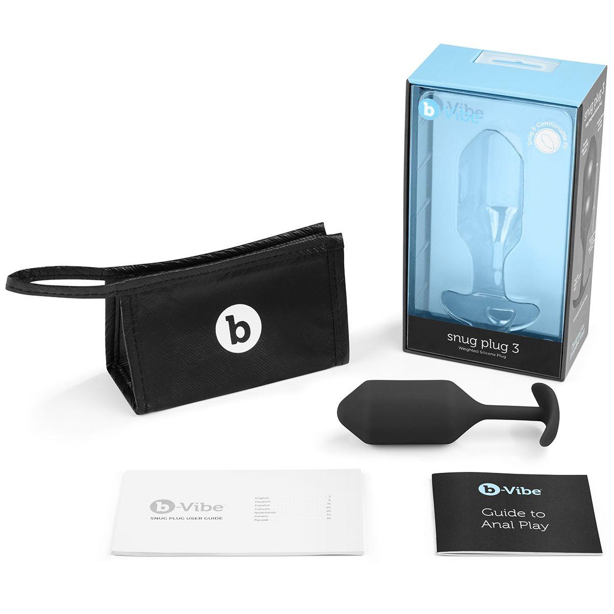 Чёрная пробка для ношения B-vibe Snug Plug 3 - 12,7 см. - фото 159602