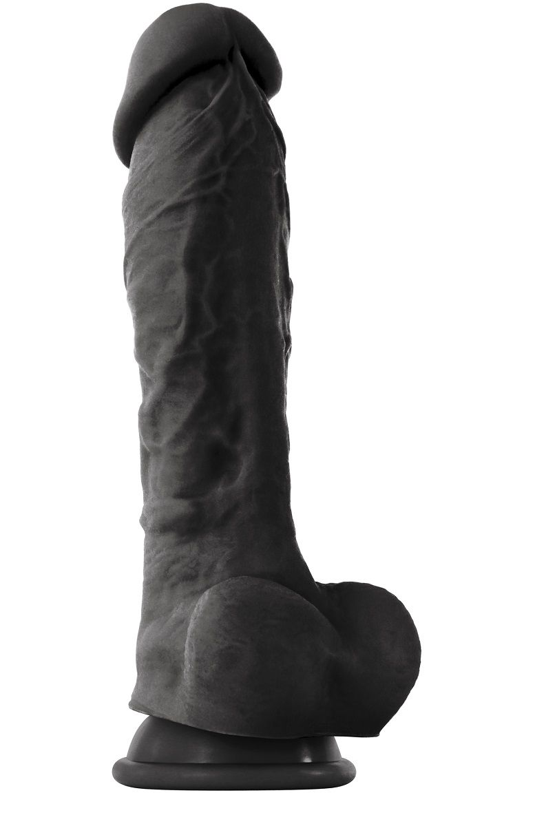 Чёрный фаллоимитатор на присоске ColourSoft  8  Soft Dildo - 23,5 см. - фото 205286