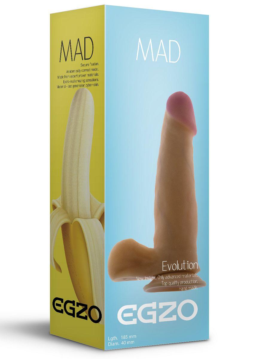 Телесный фаллоимитатор Mad Banana с мошонкой и подошвой-присоской - 18,5 см. - фото 205299