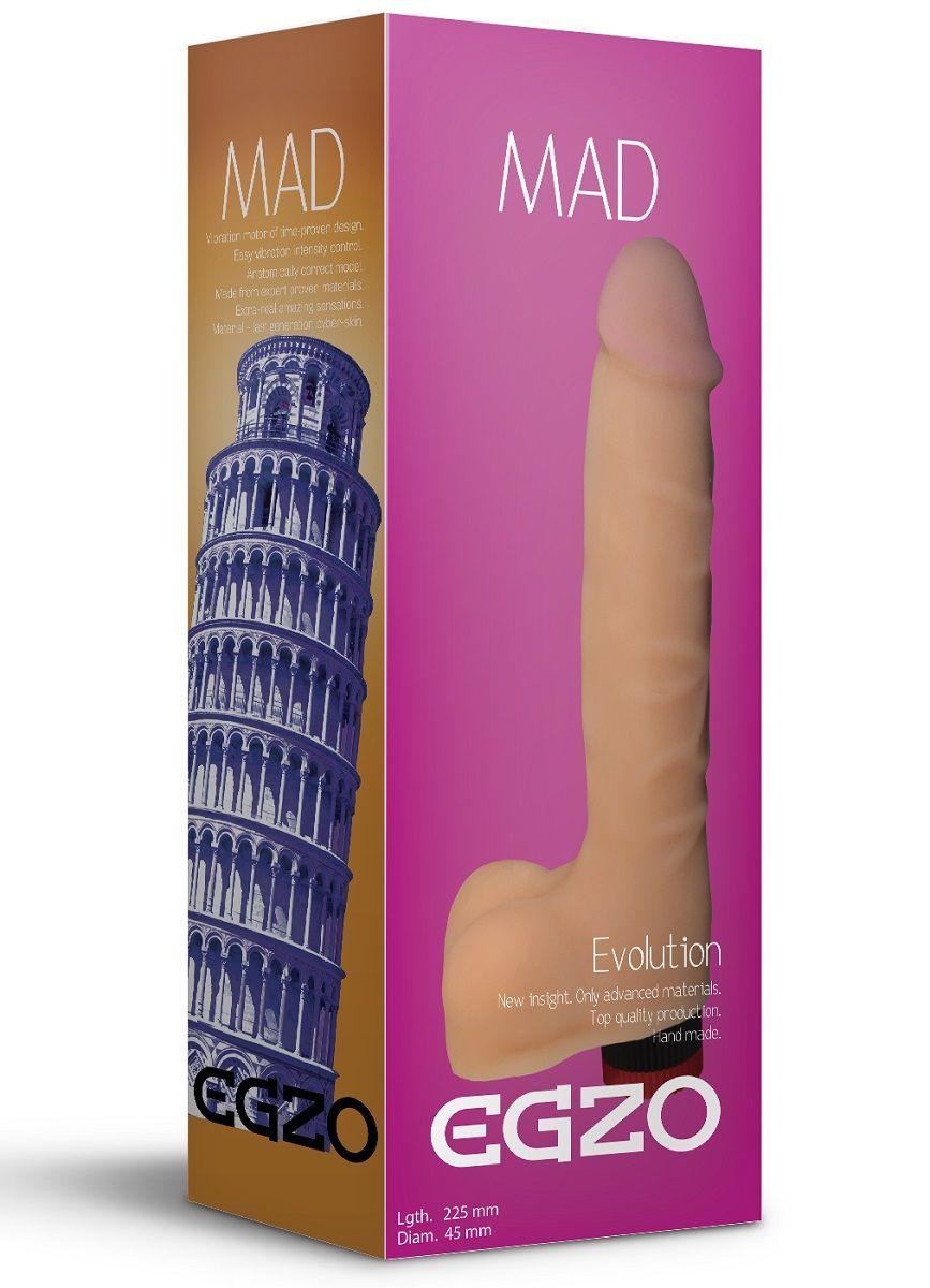 Телесный реалистичный мультискоростной вибратор Mad Tower - 22,5 см.