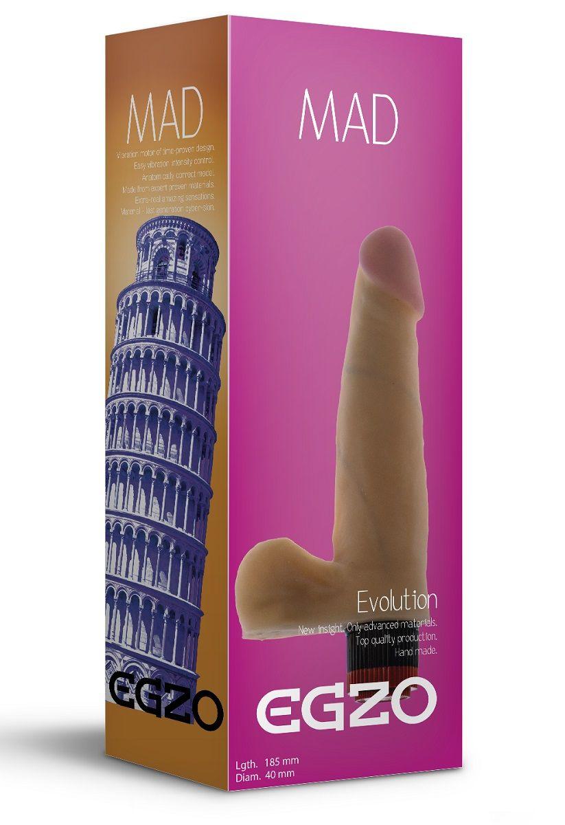 Телесный реалистичный мультискоростной вибратор Mad Tower - 18,5 см.