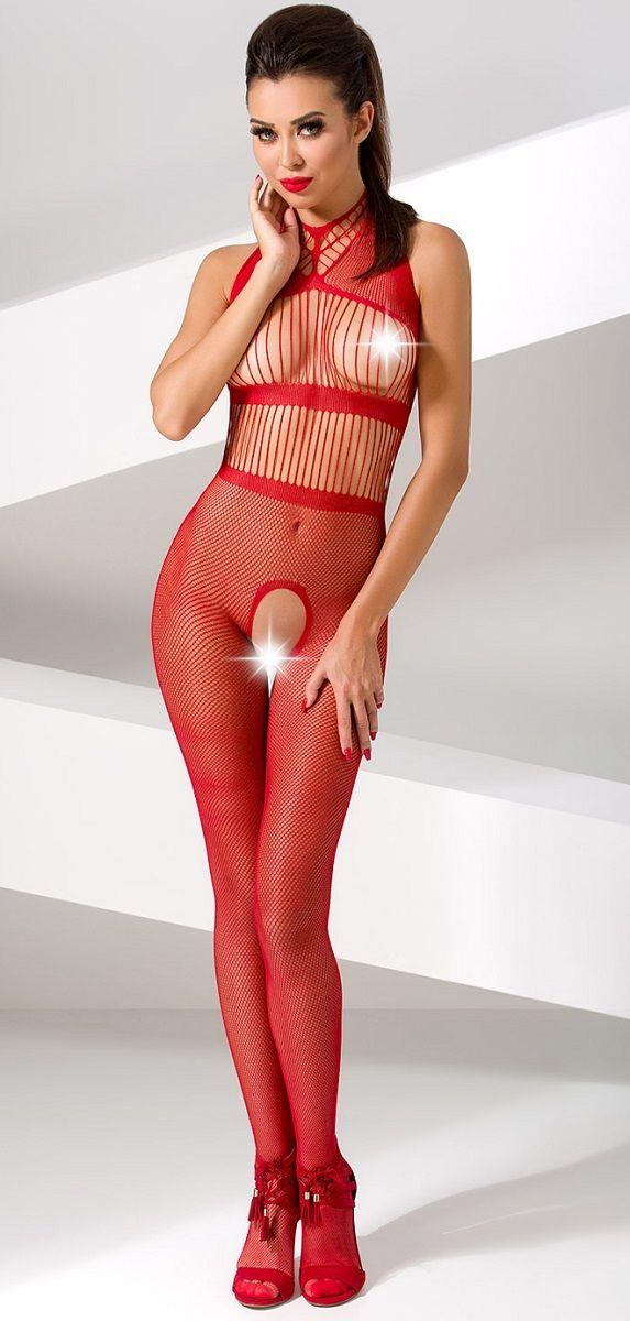 Эффектный комбинезон-сетка без рукавов с интимным доступом