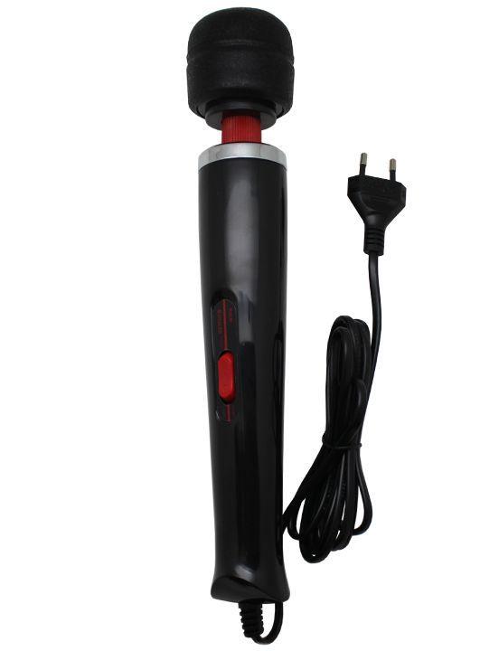 Чёрный жезловый вибратор с 2 скоростями