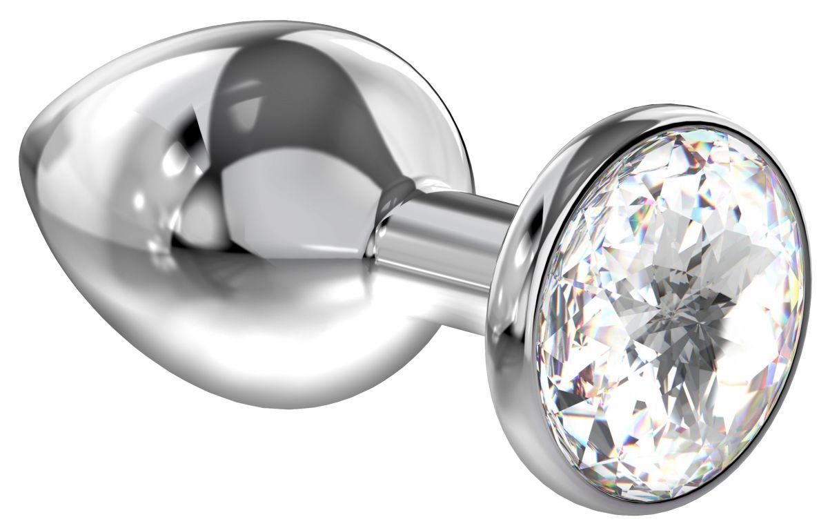 Большая серебристая анальная пробка Diamond Clear Sparkle Large с прозрачным кристаллом - 8 см. - фото 205607