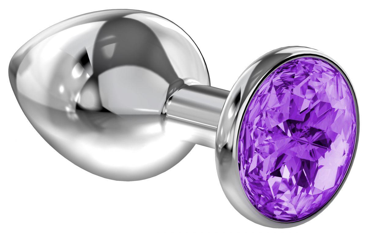 Большая серебристая анальная пробка Diamond Purple Sparkle Large с фиолетовым кристаллом - 8 см. - фото 1171370
