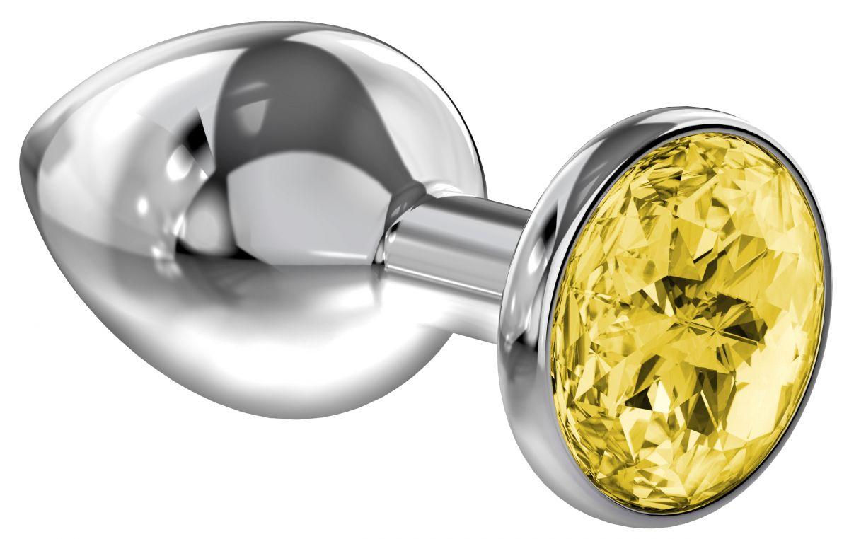 Большая серебристая анальная пробка Diamond Yellow Sparkle Large с жёлтым кристаллом - 8 см. - фото 205634