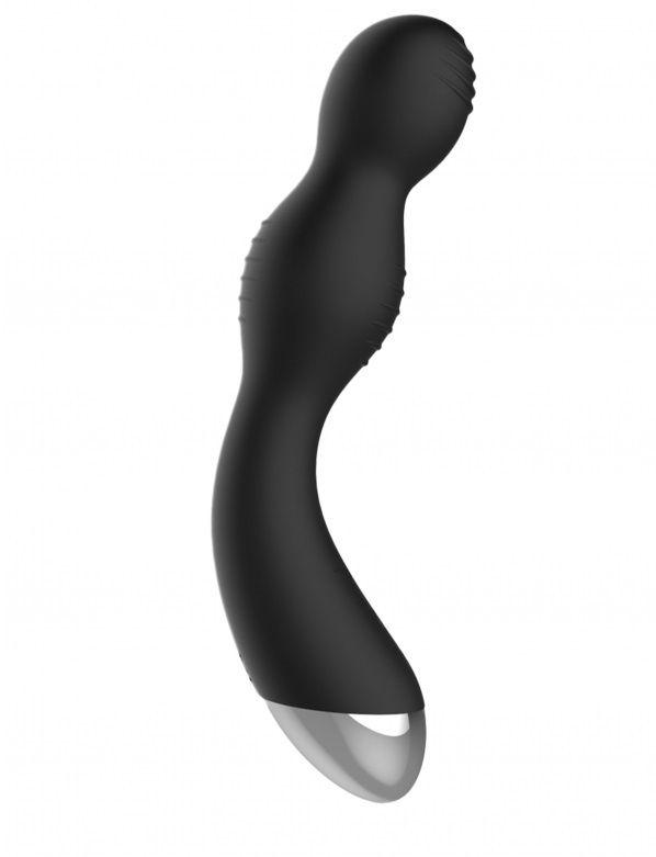 Чёрный вибратор с электростимуляцией E-Stimulation G-spot Vibrator - 19,5 см.