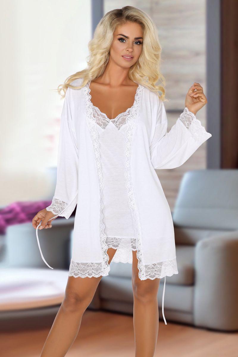 Ночной комплект Jane: пеньюар и сорочка с кружевами